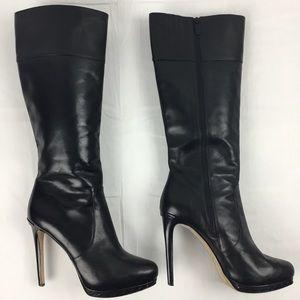 Michael Kors All Black Leather Knee High Stilettos